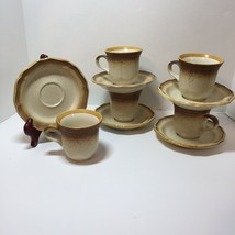 5 Coffee Tea Cups & Saucers Whole Wheat Mikasa E8000 - $29.02