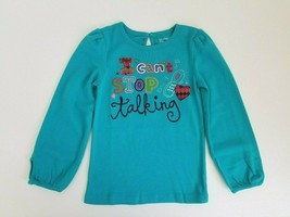 GapKids Girls Graphic Top Long Sleeved Embroidered Aqua Blue Size 5 year... - $17.99