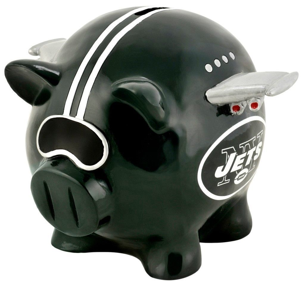 NEW YORK JETS PIGGY BANK SMALL THEMATIC NFL FOOTBALL