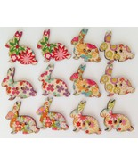 Lot of 12 Wood Bohemian Floral Print Bunny Rabbit Buttons New - $6.99