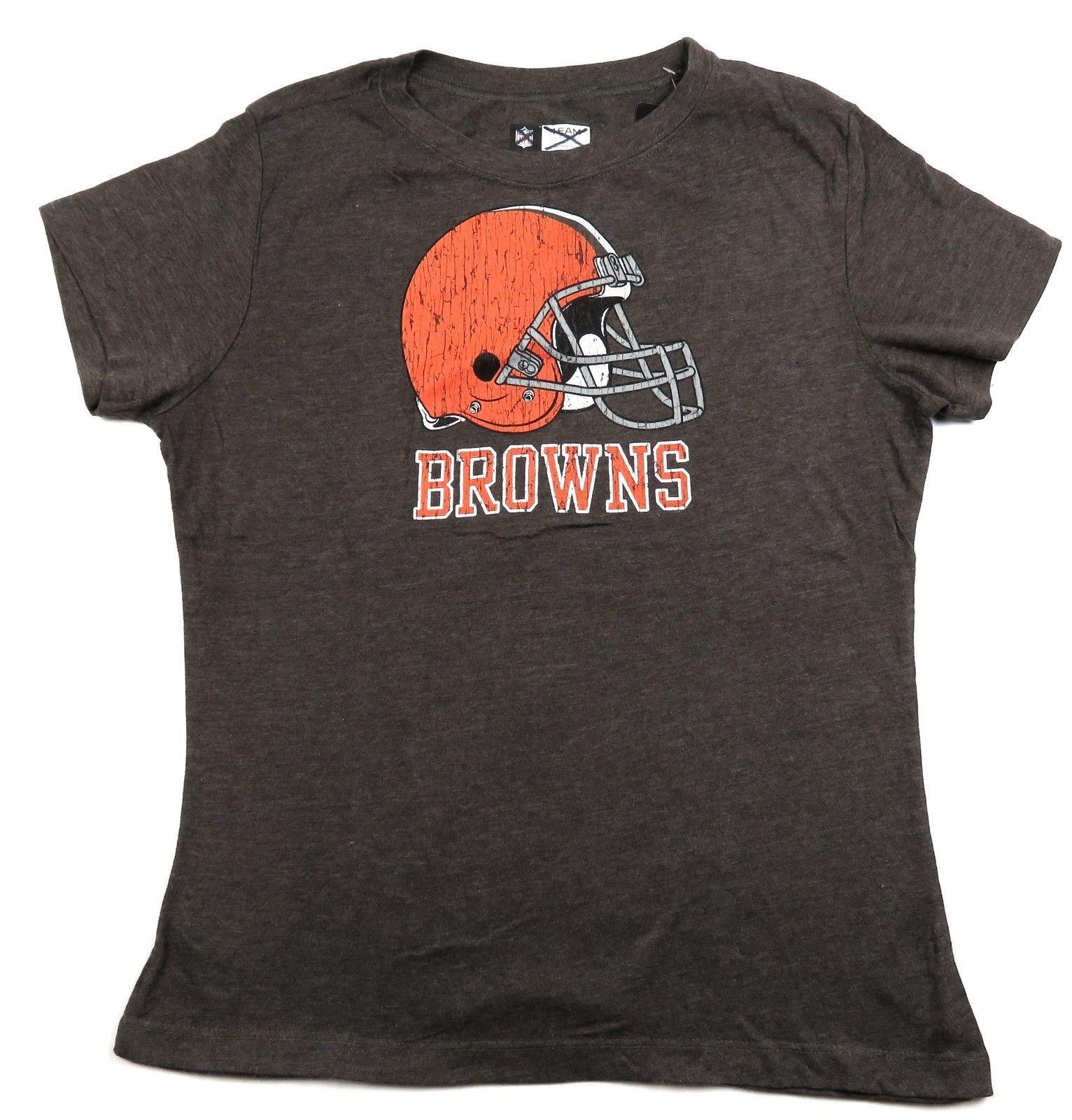 Women's Cleveland Browns Tee Shirt Cap Sleeve Helmet Logo NFL Football T-Shirt
