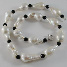 18K WHITE GOLD NECKLACE BIG DROP BAROQUE PEARL PEARLS 25 MM & ONYX MADE IN ITALY image 1