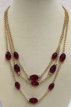 Triple Strand Necklace Red Crystal Faceted Bead Rhinestone Goldtone Char... - $10.88