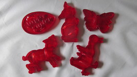 Vintage Red Plastic Cookie Cutters for Spring, Egg, Rabbit, Lamb, Duck B... - $9.99