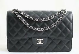 CHANEL Black CAVIAR Leather Classic Jumbo Double Flap Bag w/SHW AUTHENTI... - $5,237.03