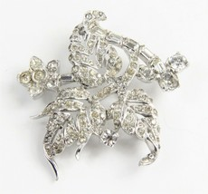 ESTATE Jewelry VINTAGE SIGNED MAZER BROS RHINESTONE FLOWER & LEAVES BROOCH - $75.00