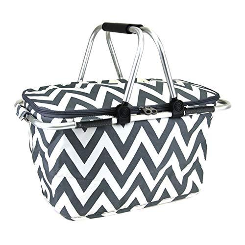 scarlettsbags Chevron Print Metal Frame Insulated Market Tote Gray