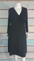 AGB Black Faux Wrap Career Cocktail Jersey Dress Size XL - $17.74