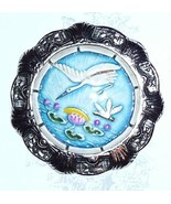 Heron Bird - Art Stone in Metal Rim Heron Bird Button Dragonfly Over Pon... - $17.49