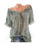 Summer Women Blouse Lace Up Shirt Short Sleeve Off Shoulder Tops Slash N... - $46.80