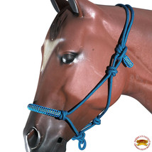 Turquoise Horse Halter Braided Poly Rope Crystal Accents Tack Hilason U-A411 - $19.79