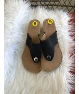White Mountain Sandals Sz 9 M Black Sparkle Thong Espadrille Wedge - $39.59