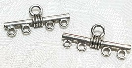 FOUR TO ONE FINE PEWTER CONNECTOR - 26.5x12x4mm image 1