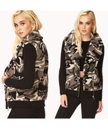 Gray black camouflage print pattern faux shearling vest full zip women's... - $49.94