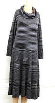 R&K Originals sz M Cowl Neck Sweater Dress Full Skirt Black White Varieg... - $40.00
