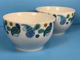 "Lot of TWO Royal Norfolk Paisley Print Stoneware Cereal Soup Bowls 5.5"" - $12.22"