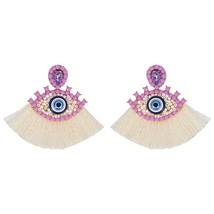 Bohemian Handmade Beads Tassel Eye Heart Drop Earrings for Women Wedding... - $14.56