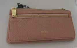 FOSSIL WOMEN'S WALLET TOP ZIP CLOSE CLUTCH GENUINE 100%LEATHER BEIGE NEW... - $64.90