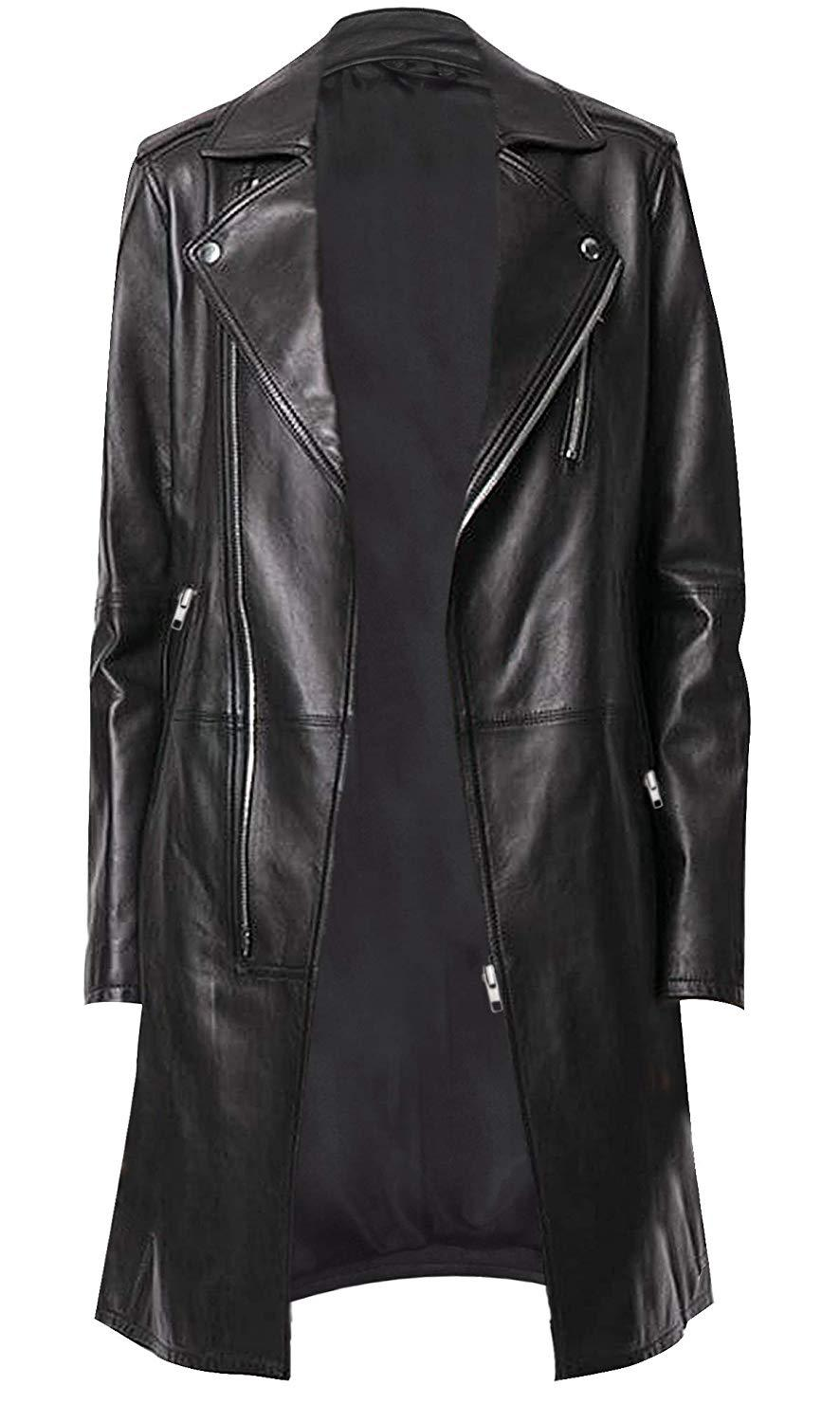 Womens mid length slim fit lapel collar leather trench coat