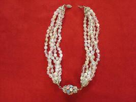 Multi Faceted Glass Bead Strand & Rhinestone Choker Statement Necklace  ... - $39.00