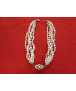 Multi Faceted Glass Bead Strand & Rhinestone Choker Statement Necklace  ... - $39.00
