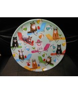 """Round Melamine Plate 10 1/4"""" - Cats Sitting On Beach Chairs With Beachballs - $9.85"""