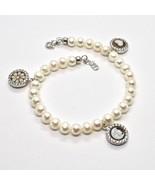 Bracelet en Argent 925 avec Perles D'Eau Douce Camée Camée Zirconia Cubique - $223.57