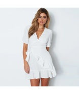 New white V neck short sleeve sexy ruffle short women dress boho spring ... - $46.00