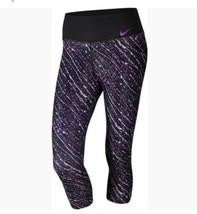 Nike puissance Entraînement Capri Leggings TAILLE M Noir Mauve Jabot Pantalon - $31.41