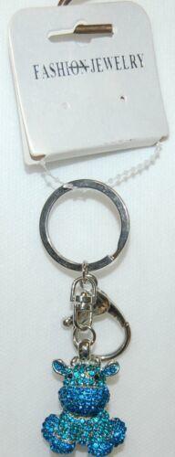 Fashion Jewelry Royal Blue Turquiose Rhinestone Cow Keychain Lobster Claw Clasp