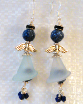 Angel Dangle Wire Wrap Earrings Blue Gemstone Beads Sterling Wires Handmade - $20.00