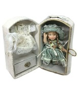"""Bisque Doll Small Ceramic Collectible 4"""" Inches Jointed  Lace Dress w Cl... - $22.77"""