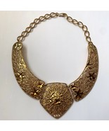 Vintage Barrera For Avon Chunky Runway Collar Filigree Falling Leaves Ne... - $34.60