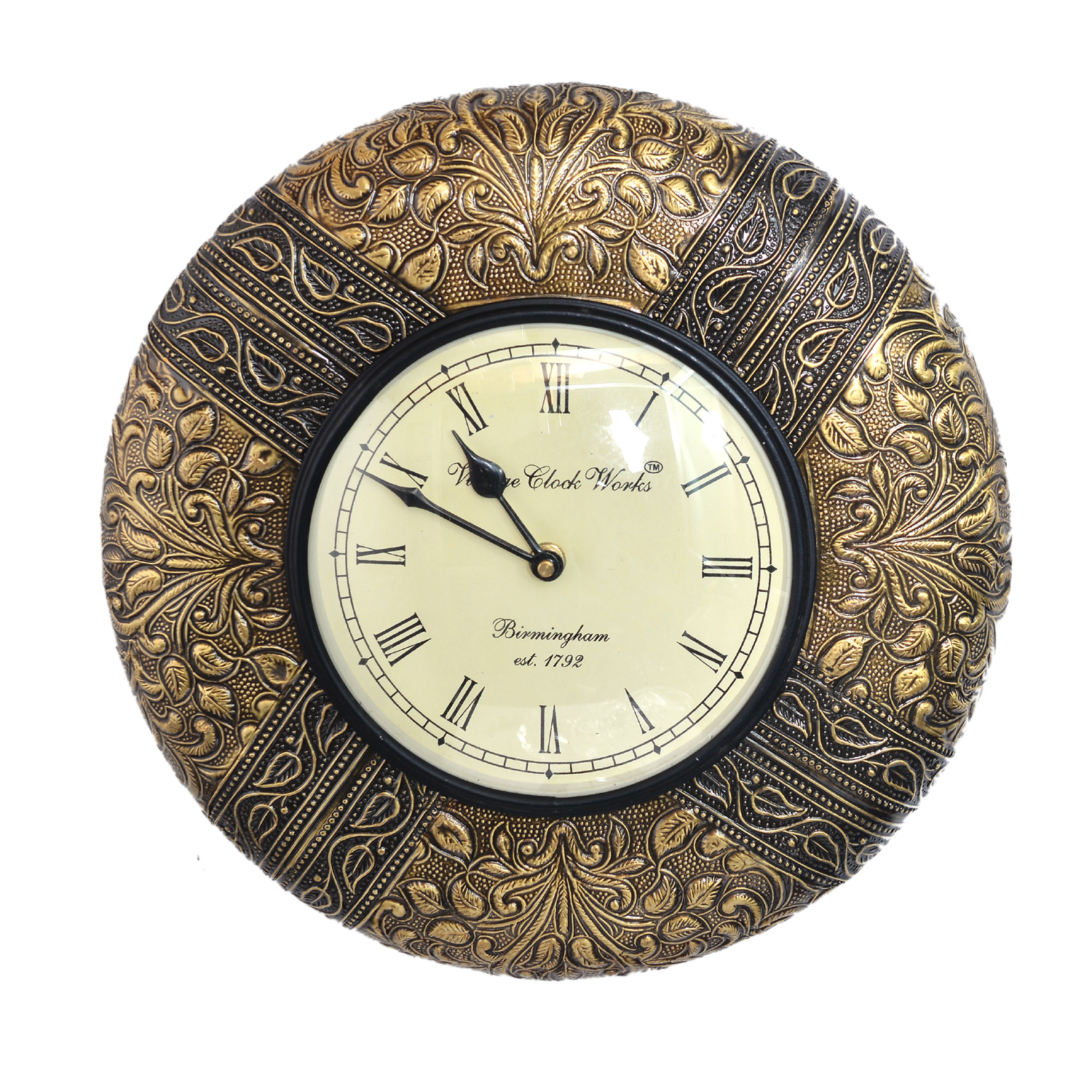 "12"" Antique Brass FTD Decorative Wall Clock Wooden Wall Clock/Vintage Wall Clock"