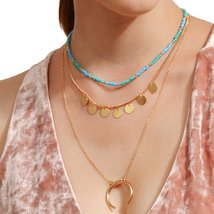 Simple Moon Multi-layer Choker Sequin Bead Necklace Women Gold - $4.99