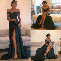 Elegant Dark Green Evening Gowns Off-the-Shoulder Side Split Prom Dresses - $145.00