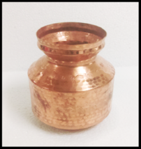 PURE COPPER WATER STORAGE KALASH LOTA SMALL CONTAINER POT TRADITIONAL IN... - $28.50