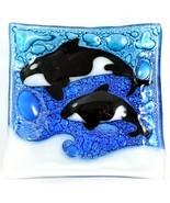 Fused Art Glass Sea Ocean Orca Killer Whale Square Soap Dish Handmade Ec... - $15.83