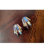 Vintage Italian 14 KT Yellow Gold Pleated Fleur Fanned Earrings 1980s  - $470.00