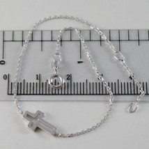 18K WHITE GOLD THIN 1 MM BRACELET 7.10 INCHES, WITH MINI CROSS, MADE IN ... - $172.00
