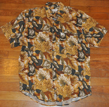 VTG 80s 90s Guess Marciano brown green leaves jungle funky button up shi... - $42.99