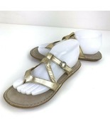 G.H. Bass & Co. Gold Buckle Leather Strappy Thongs Flats Size 7.5 Flip Flop - $29.69