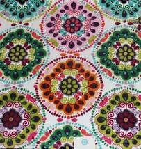 3 Pc C HOME Bright Floral Circles Rosettes Velour Bath Hand Towel Washcl... - $41.99