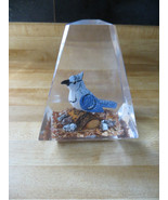 hand carved wood bluejay song bird sitting on log glass paperwieght coll... - $28.50