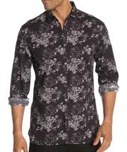 John Varvatos Star USA Men's Long Sleeve Clayton Floral Shirt Cotton Linen Black - $64.12