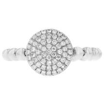 0.36ct Round Cut Diamond 14k White Gold Ribbed Midi Ring - £384.64 GBP