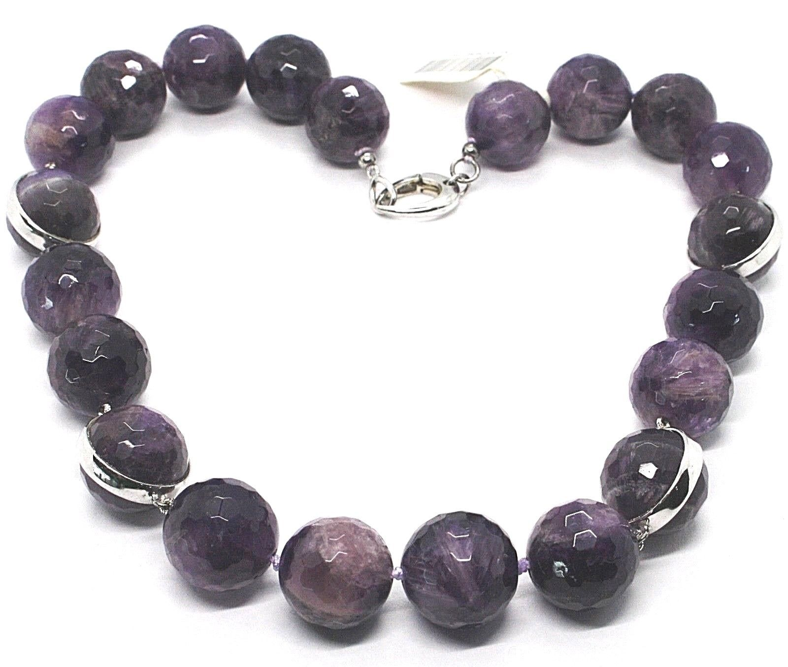 Silver necklace 925, Spheres Large Faceted Amethyst 20 mm, length 50 cm