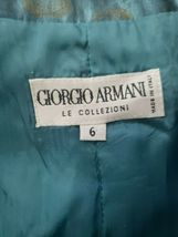 Women's Giorgio Armani Le Collezioni Silk Skirt Suit Teal w/ Gold Size 6 Jacket image 8