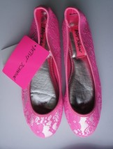 Betsey Johnson Flats Sz S Pink Silver Floral Laced Textile Sole Casual S... - $17.53