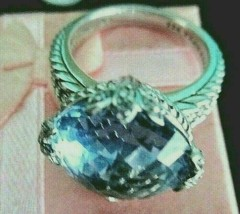 JUDITH RIPKA BLUE CRYSTAL DMQ STERLING SILVER COCKTAIL RING SIZE 9 GIFT ... - $119.95